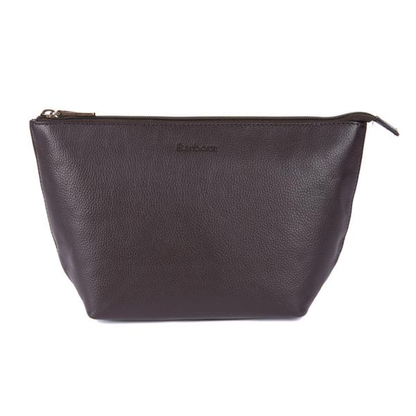 Barbour Kilnsey Leather Wash Bag Dark Brown / Classic Tartan