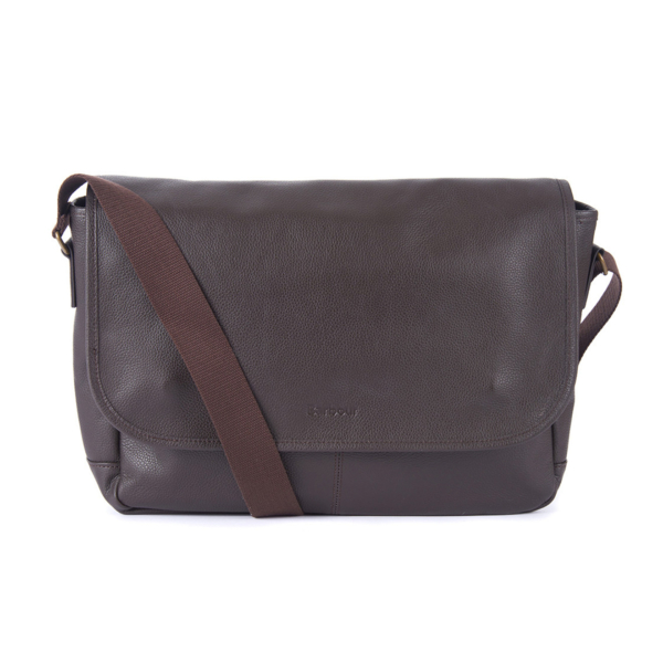 Barbour Leather Messenger Bag Chocolate