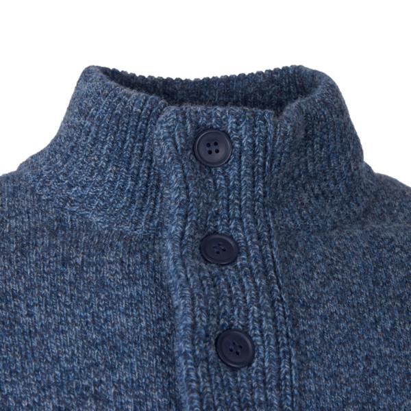 Barbour Patch Half Zip Inky Blue Half Zip Button Neck