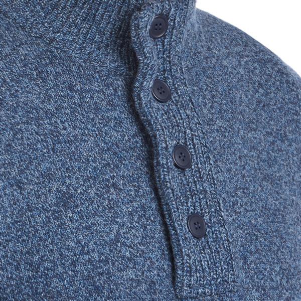 Barbour Patch Half Zip Inky Blue Button Close Neck