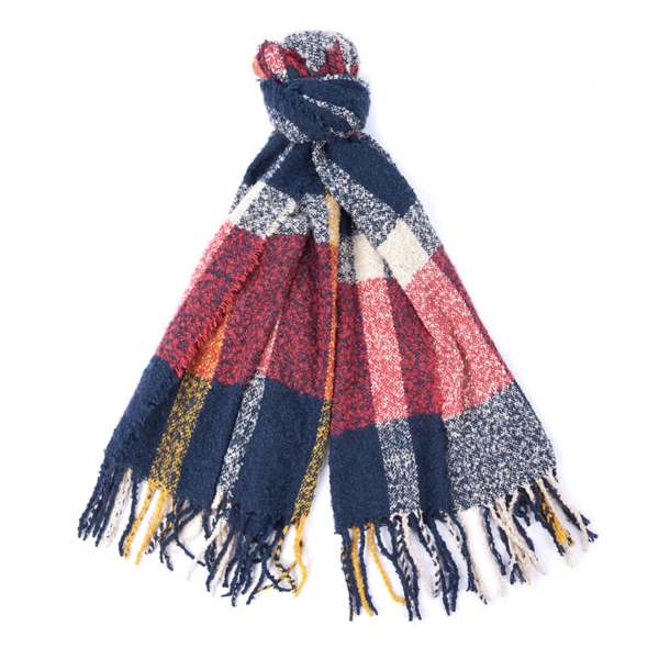 Barbour Ridley Boucle Scarf Claret / Pearl / Navy