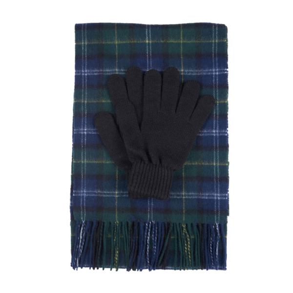 Barbour Tartan Scarf and Glove Gift Set Seaweed Tartan