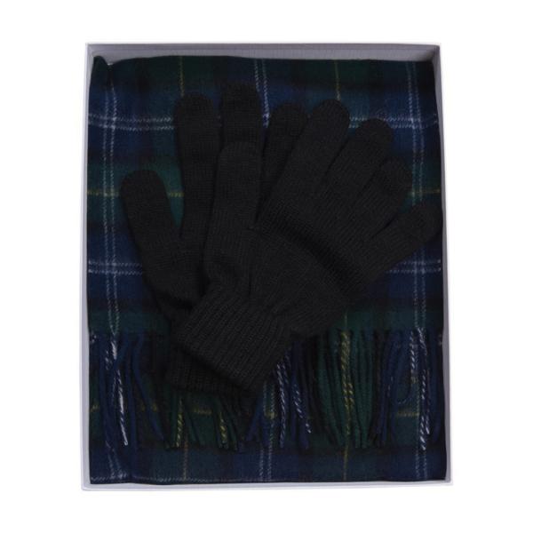 Barbour Tartan Scarf and Glove Gift Set Seaweed Tartan in Gift Box