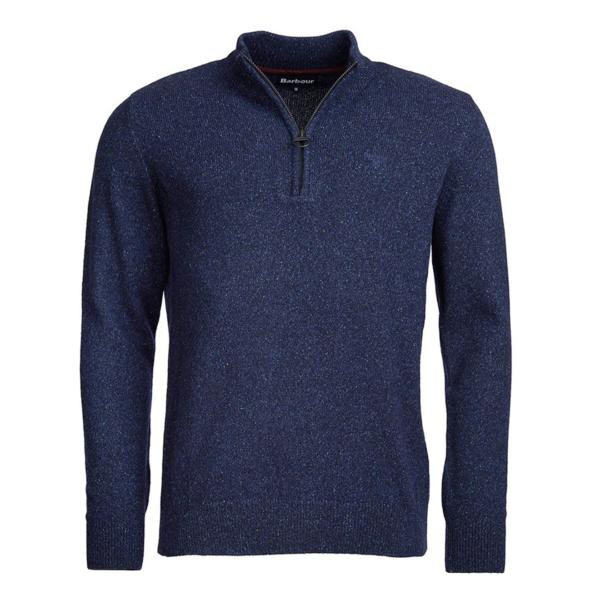 Barbour Tisbury Half Zip Knit Navy Front Tweed-Fleck Yarn