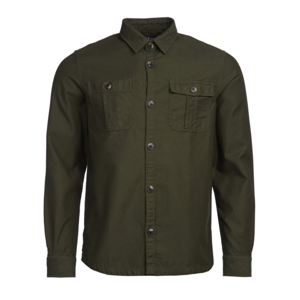 Barbour Wingate L/S Overshirt Bleached Olive Front Full Button Fastening