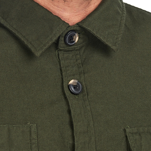 Barbour Wingate L/S Overshirt Bleached Olive Button Up Collar