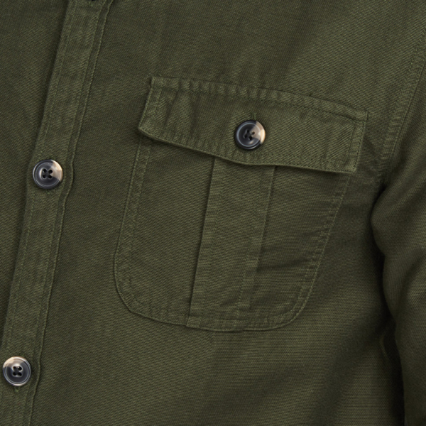Barbour Wingate L/S Overshirt Bleached Olive Buttoned Pocket on the Chest