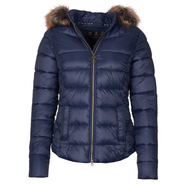 Barbour Womens Irving Quilt Jacket Navy Front Zippered With Herringbone Binding