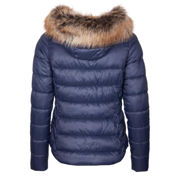 Barbour Womens Irving Quilt Jacket Navy Back Detachable Hood With Faux Fur Trim