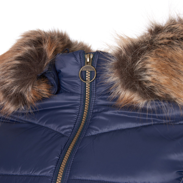 Barbour Womens Irving Quilt Jacket Navy Zipper Fastening & Funnel Collar With Faux Fur Trim