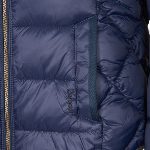 Barbour Womens Irving Quilt Jacket Navy Side Pocket & Barbour Embroidered Logo