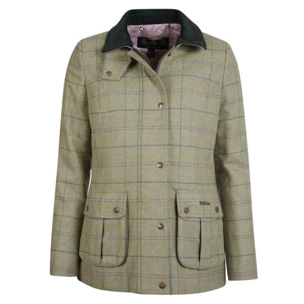 Barbour Womens Marlow Tweed Jacket Green/Pink Check With Large Pleated Bellows Pockets