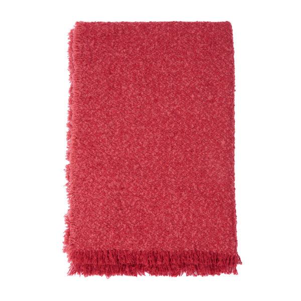 Barbour Womens Megan Boucle Wrap Claret Scarf With Pin Fringed Hem