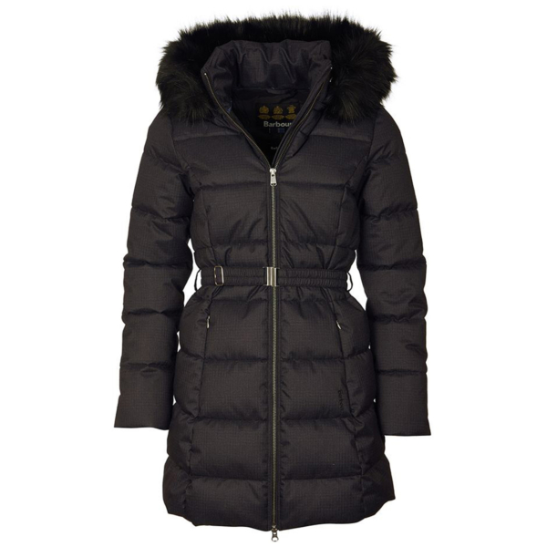 Barbour Womens Oykel Quilt Jacket Black With Elasticated Waist Belt