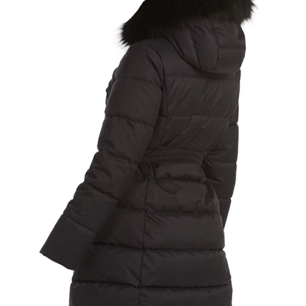 Barbour Womens Oykel Quilt Jacket Black With Detachable Hood & Faux-Fur Ruff