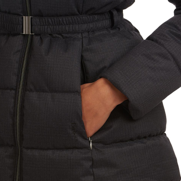 Barbour Womens Oykel Quilt Jacket Black Concealed Side pocket With Embroidered Barbour Branding