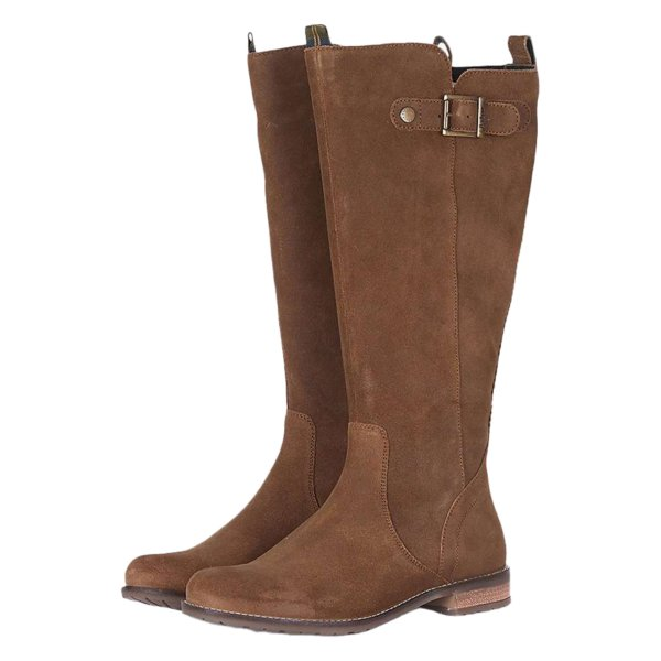 Pair of Barbour Rebecca Boots Brown Suede With Branded Buckle Adjuster Strap
