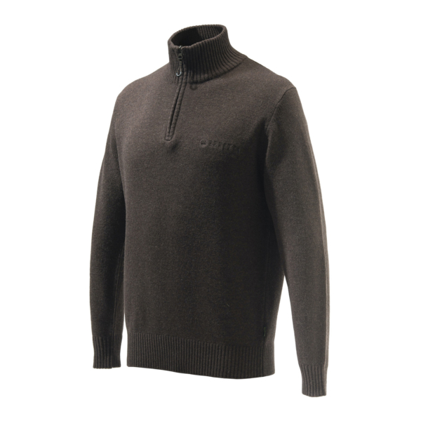 Beretta Dorset Half Zip Sweater Brown Melange