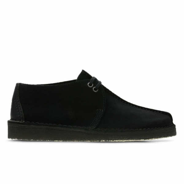 Clarks Originals Desert Trek Shoes Black Suede