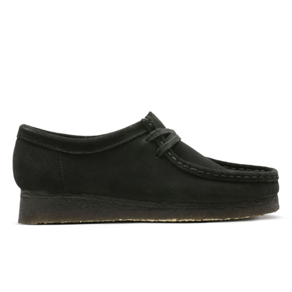 Clarks Originals Womens Wallabee Shoes Black Suede