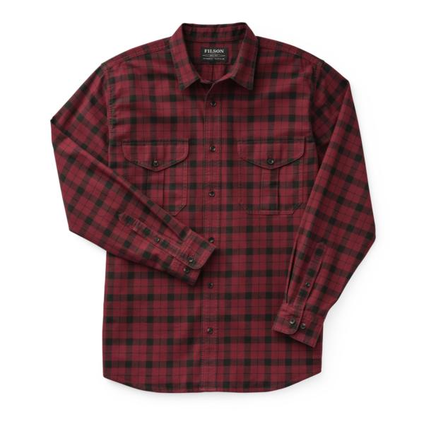 Filson Lightweight Alaskan Guide Shirt Oxblood / Black Plaid