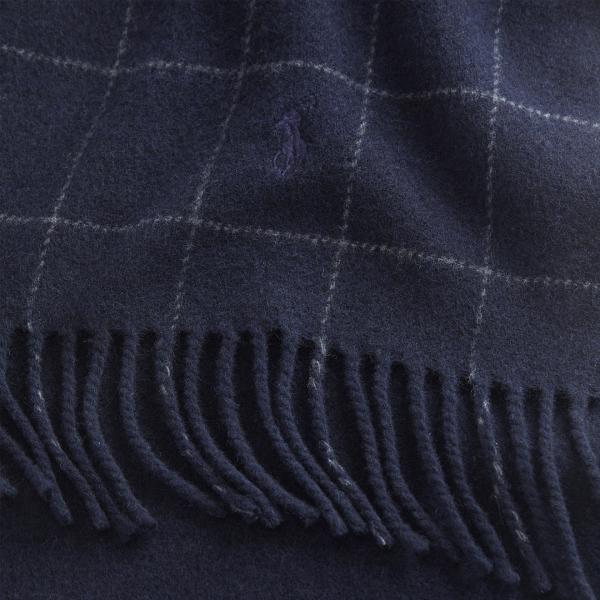 Polo Ralph Lauren Reverse Window Check Scarf Navy