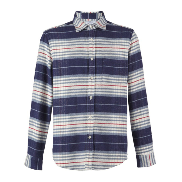 Portuguese Flannel Bleeckers Stripe L/S Shirt Sky / Navy / Ecru