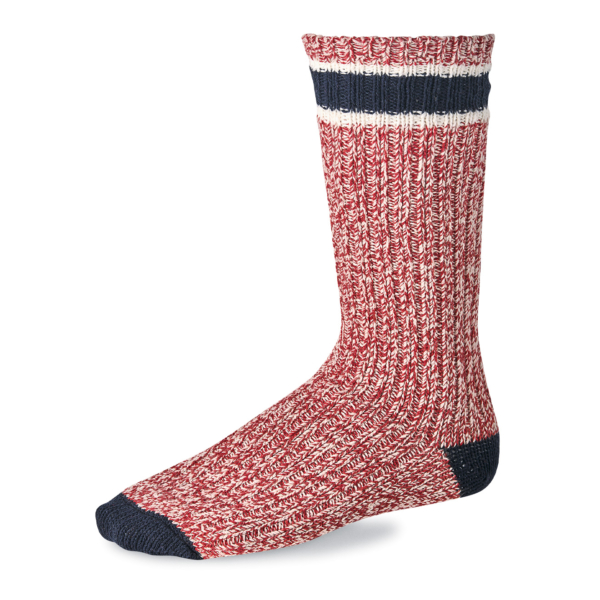 Red Wing Striped Wool Ragg Sock Red