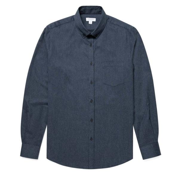 Sunspel Brushed Flannel Button Down Shirt Navy Melange
