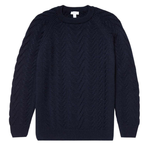 Sunspel Cable Crew Neck Knit Navy