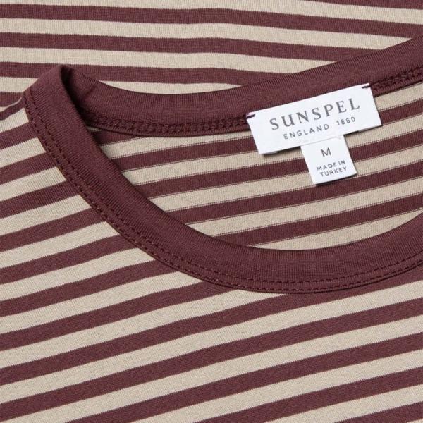 Sunspel Classic Crew Neck T-Shirt Merlot / Taupe English Stripe