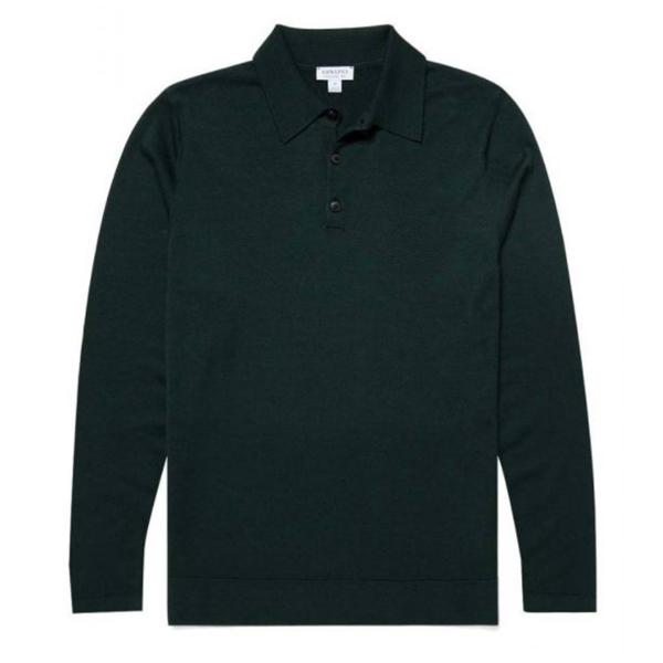 Sunspel Long Sleeve Polo Shirt Forest