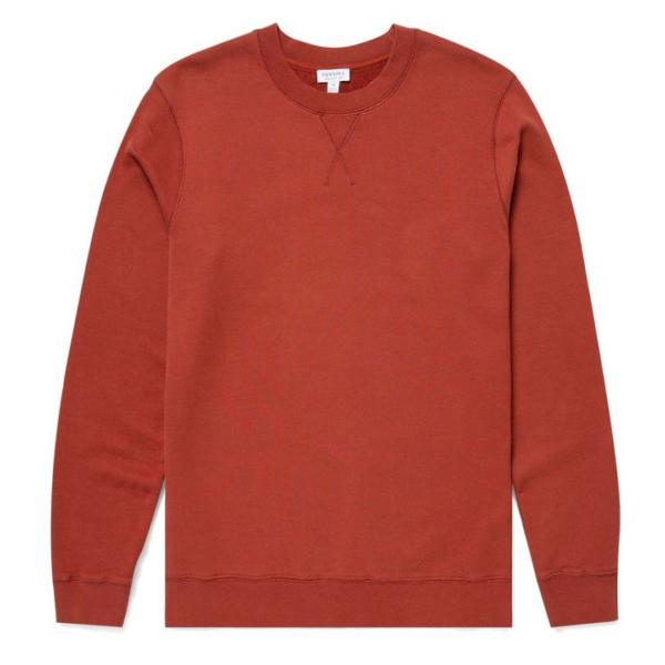 Sunspel Loopback Sweatshirt Brick