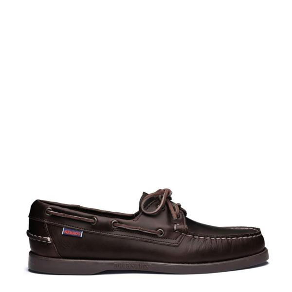 Sebago Dockside Portland Leather Boat Shoe Cinnamon Dark Brown