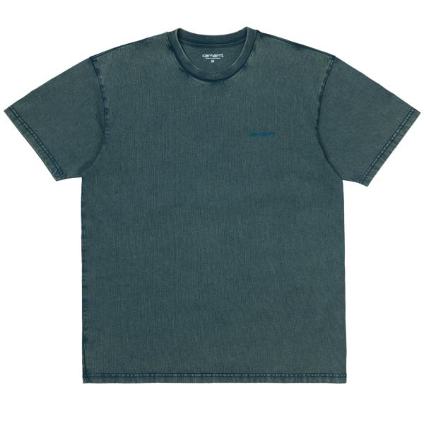 Carhartt Mosby Script T-Shirt Deep Lagoon Acid Wash