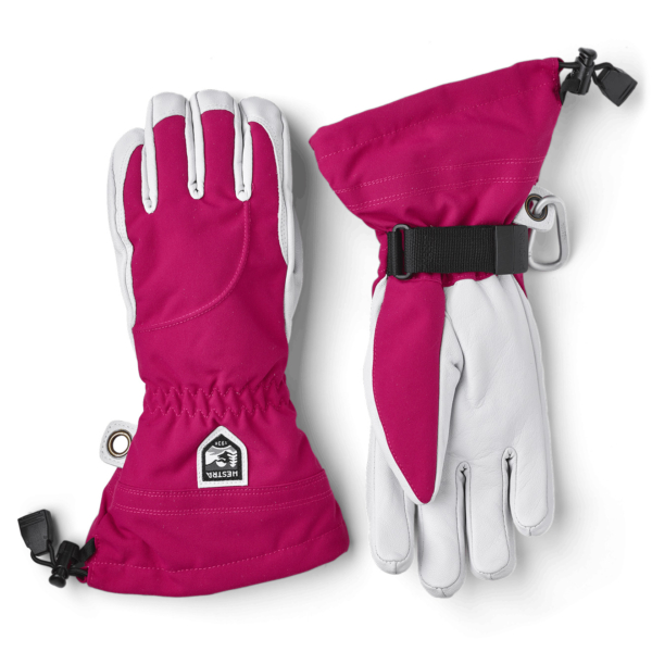 Hestra Womens Heli Ski 5 Finger Glove Fuchsia / Off White