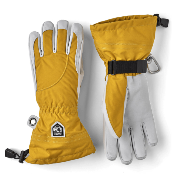 Hestra Womens Heli Ski 5 Finger Glove Mustard / Off White