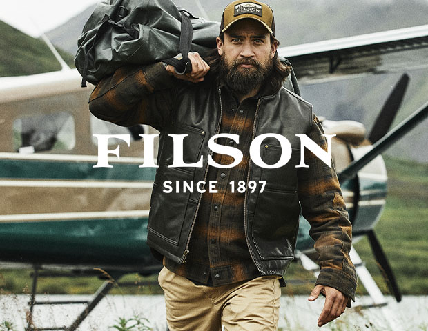 Filson Tin Cloth Briefcase in Whiskey and Travel Pack