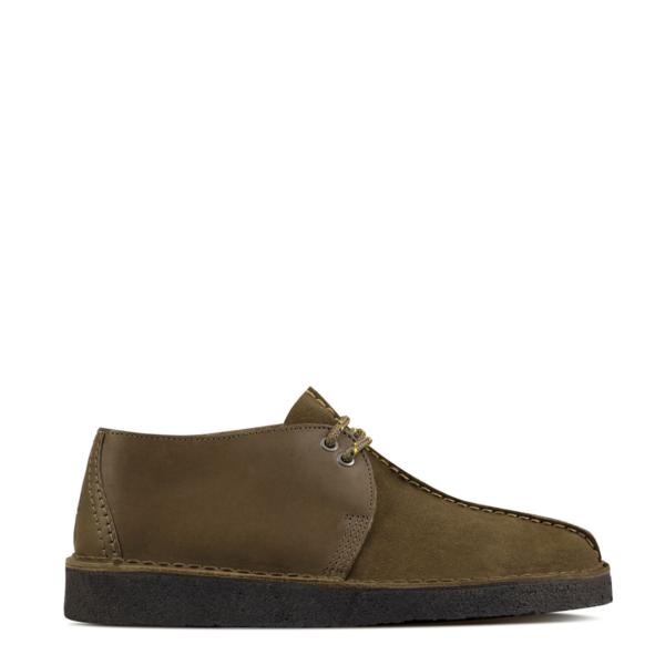 Clarks Originals Desert Trek Shoes Olive Combi