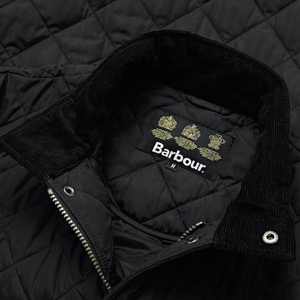 Barbour Chelsea Sports Quilt Jacket Black Funnel Collar With Corduroy Inner Collar