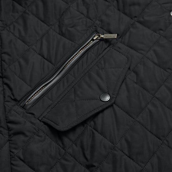 Barbour Chelsea Sports Quilt Jacket Black Zipped Pocket and Pocket Flap