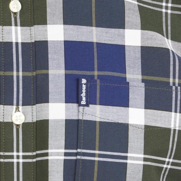 Barbour Tartan 11 Tailored Fit Shirt Sage Barbour Branded label tab on chest pocket