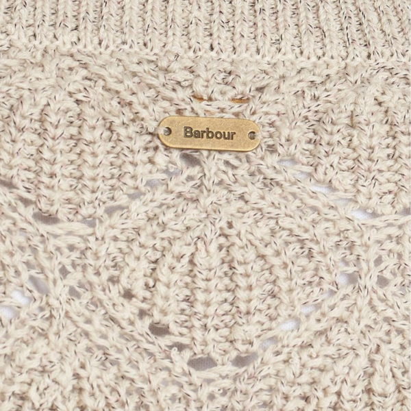 Barbour Womens Newbury Knit Summer Pearl Metal Barbour ID Bar at Centre Back Neck