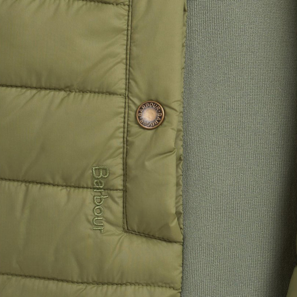 Barbour Womens Ashridge Quilt Jacket Bayleaf Green Stud Welt Pocket