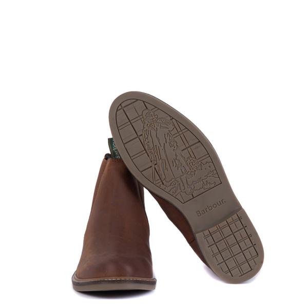 Barbour Farsley Chelsea Boot Dark Tan Graphic Walking Man Logo Sole Image