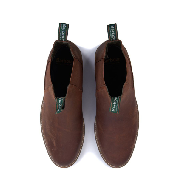 Barbour Farsley Chelsea Boot Dark Tan Top View With Branded Pull Loops