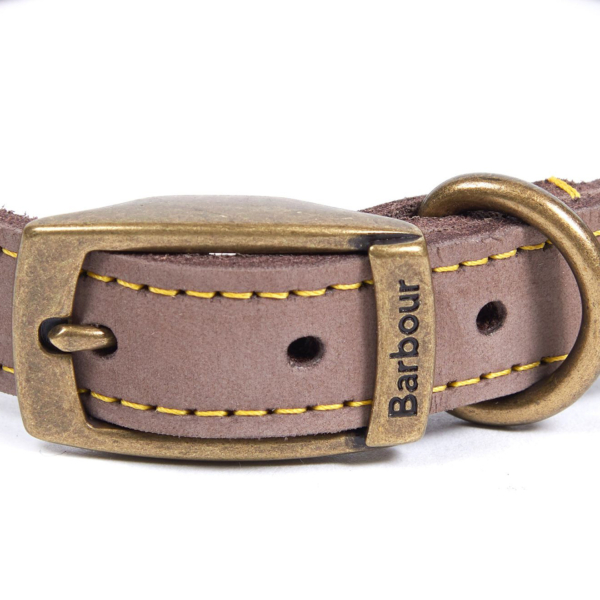 Barbour Leather Dog Collar Brown Brass Effect Buckle