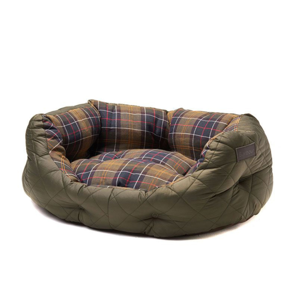 """Barbour Quilted Dog Bed 24"""" Olive"""