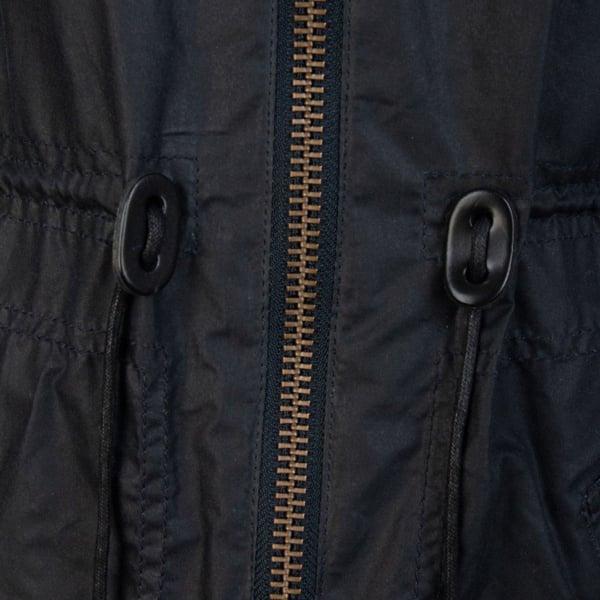 Barbour Womens Watson Wax Jacket Royal Navy/Dress Front Zip Closure