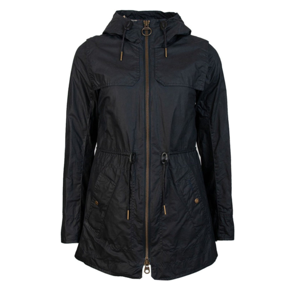 Barbour Womens Watson Wax Jacket Royal Navy/Dress With Drawstring Hood & Elastic Waistband